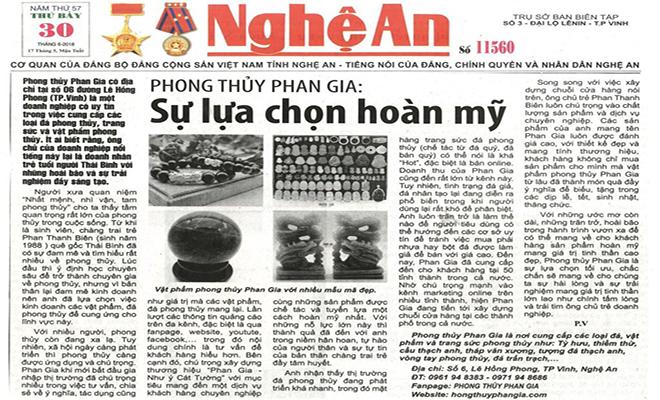 Báo Nghệ An : Phong thủy Phan Gia - Sự lựa chọn hoàn mỹ