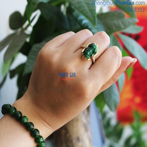 Nhẫn Tỳ Hưu Ngọc cho Nữ ( Chưa bao gồm bọc vàng 18k)