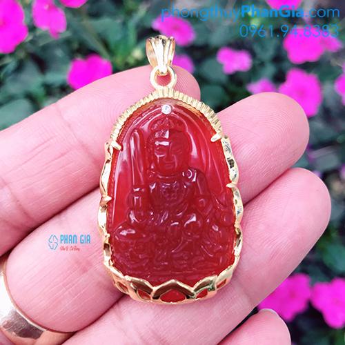 Phật Bản Mệnh Văn Thù Bồ Tát Mã Não Đỏ Dành Cho Tuổi Mão ( không bao gồm bọc vàng 18k)