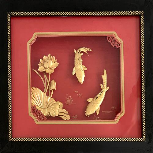 Tranh Cá Chép Hoa Sen Mạ Vàng 24k