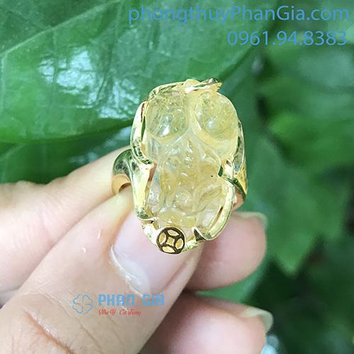 Nhẫn Tỳ Hưu Thạch Anh Tóc Vàng (chưa bao gồm bọc vàng 18k)