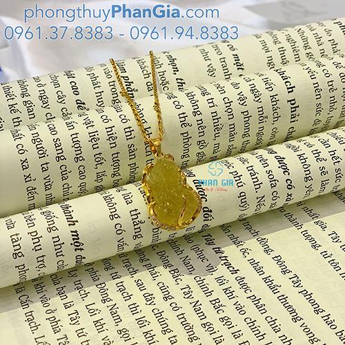 Mặt dây Tỳ Hưu Thạch Anh Tóc Vàng