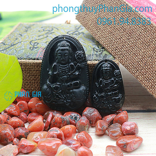 Phật Bản Mệnh Phổ Hiền Bồ Tát Đá Obsidian Dành Cho Tuổi Thìn,Tỵ