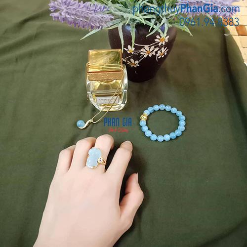 Bộ Trang Sức Đá Aquamarine (chưa bao gồm vàng)
