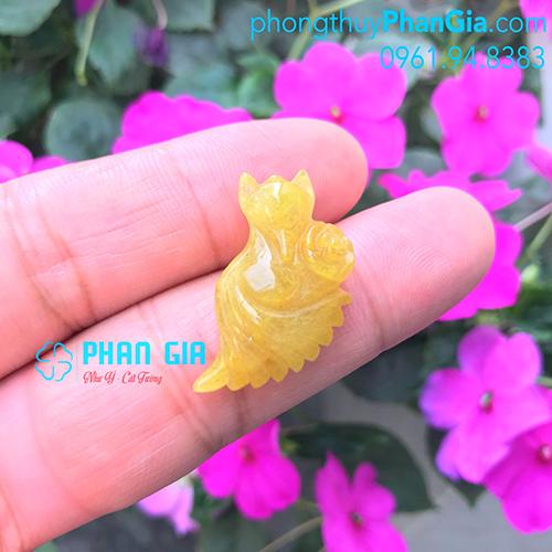 Mặt Hồ Ly Thạch Anh Tóc Vàng Xòe Đuôi