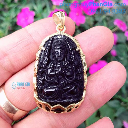 Mặt Phật Thiên Thủ Thiên Nhãn Đá Obsidian ( chưa bao gồm bọc vàng 18k)