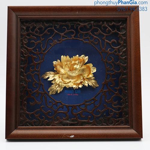 Tranh Vàng Hoa Mẫu Đơn 20x20