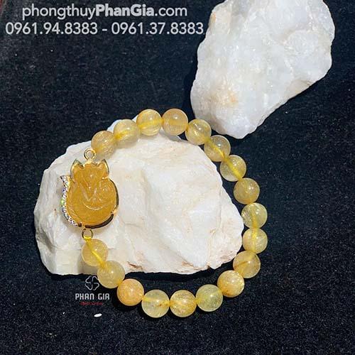 Vòng tay Thạch Anh Tóc Vàng Mix Hồ Ly Tại Nghệ An