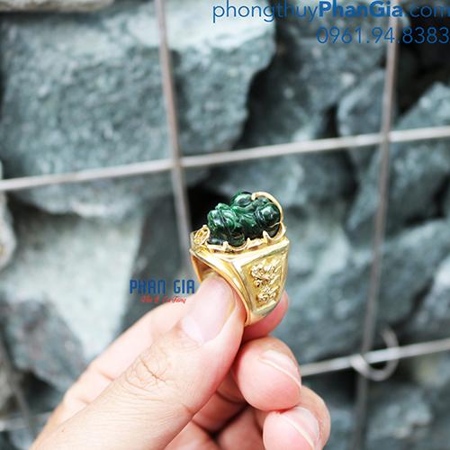 Nhẫn Tỳ Hưu Ngọc Phỉ Thúy cho Nam ( Chưa bao gồm bọc vàng 18k)